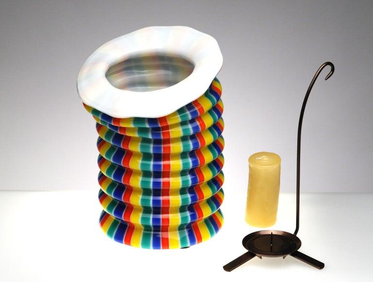 Late 20th Century Venini Murano Glass Candleholder Lantern Fulvio Bianconi I Baloni Del Redentor