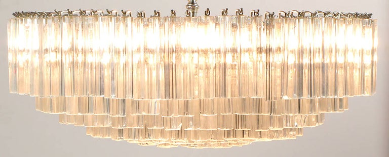 Metal Venini Murano Glass Chandelier For Sale
