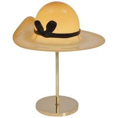 Venini Murano Glass Hat Lamp on a Brass Base, circa 1970s, Italian