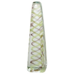 Venini Murano Glass Obelisk Sculpture with Chartreuse and Maroon Spiral