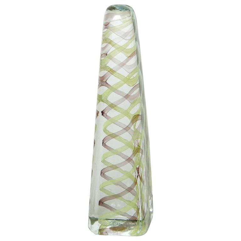 Venini Murano Glass Obelisk Sculpture For Sale