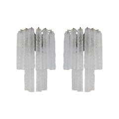 Venini Murano Glass Pair of 1960s Italian Sconces