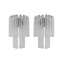 Venini Murano Glass Pair of 1960s Italian Sconces