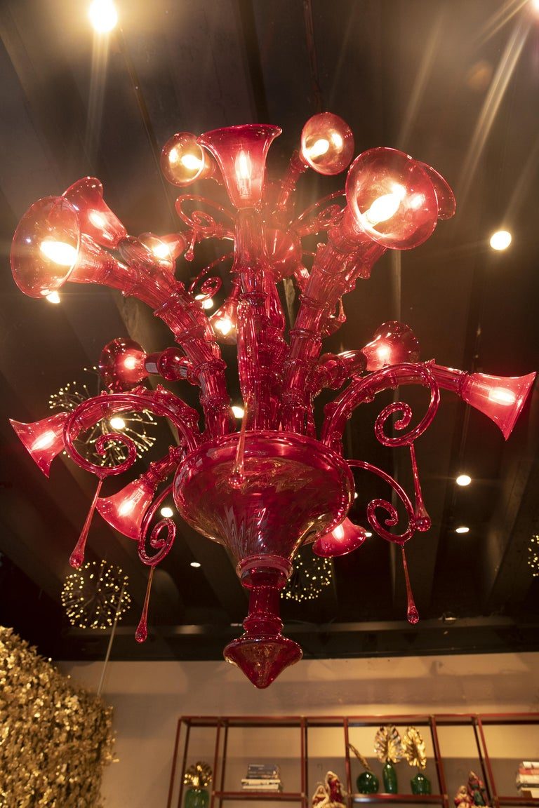 Mid-20th Century Venini Murano Glass Red Chandelier, Made in Italy, 1940s For Sale