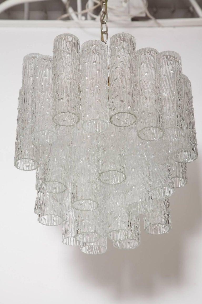 Italian Venini Murano Glass Tronchi Chandelier, circa 1969 For Sale