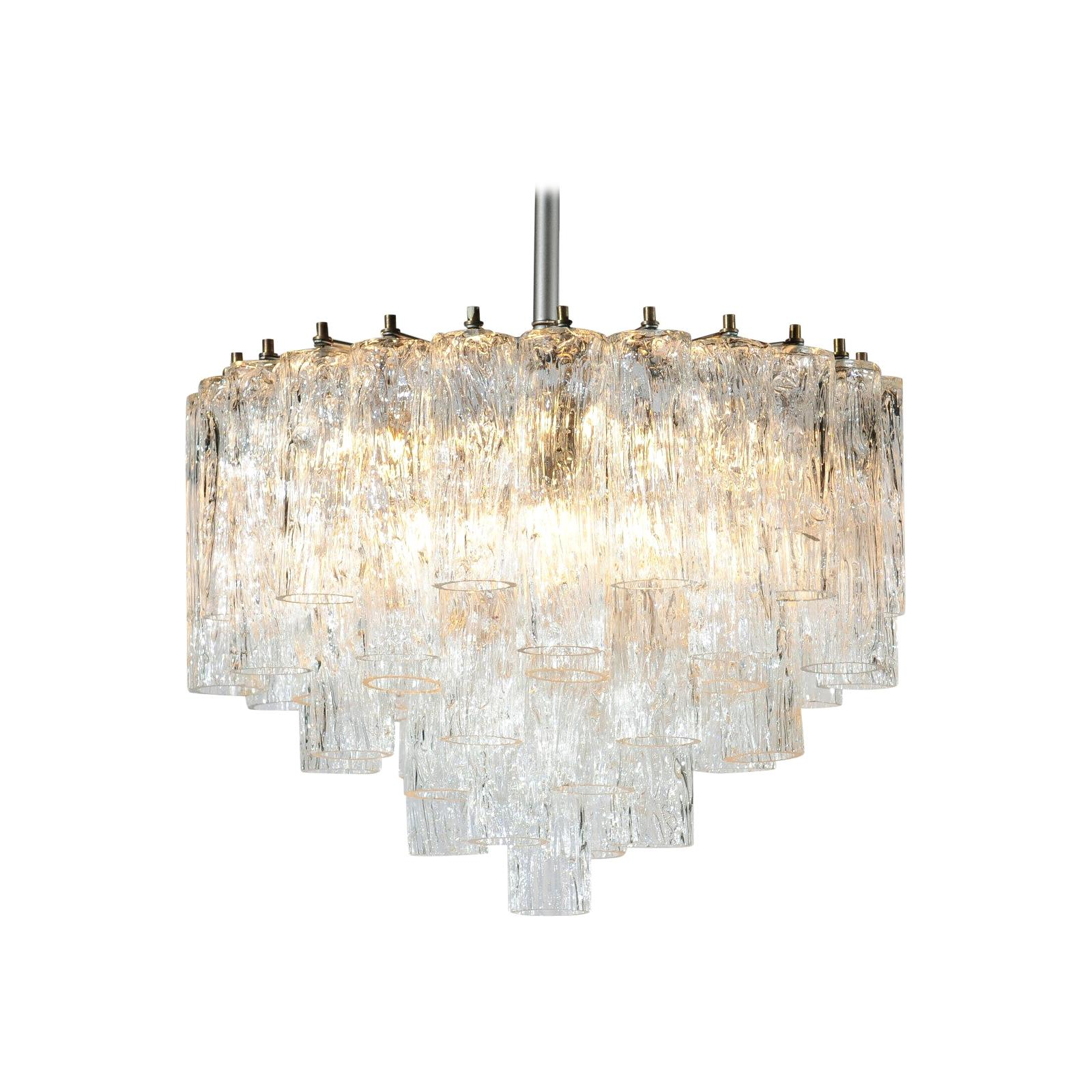 Venini Murano Glass Tronchi Midcentury Chandelier with Cascading Structure