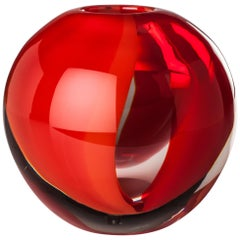 Venini Murano Globe Glass Vase in Red and Gray