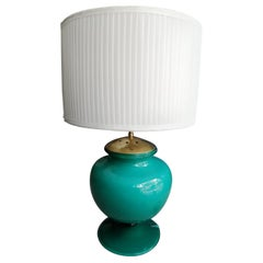 Venini Murano Green Glass and Brass Bulged Table Lamp