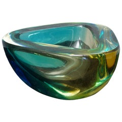 Venini Murano Green / Yellow Glass Ashtray, 1960