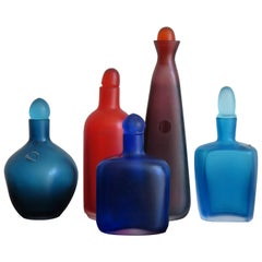"Venini Murano Italy Multicolors Glass Bottles Serie ""Velati"", 1996"