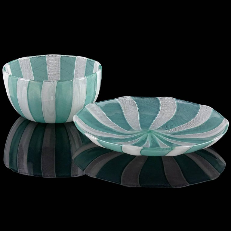Priced Per Set (3 sets available). Beautiful vintage Murano hand blown jade green and white micro thread Zanfirico ribbons Italian art glass bowl and dish set. Signed