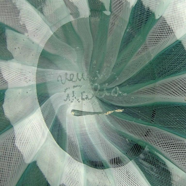 Venini Murano Jade Green White Micro Ribbons Italian Art Glass Bowl Dish Set In Good Condition For Sale In Kissimmee, FL