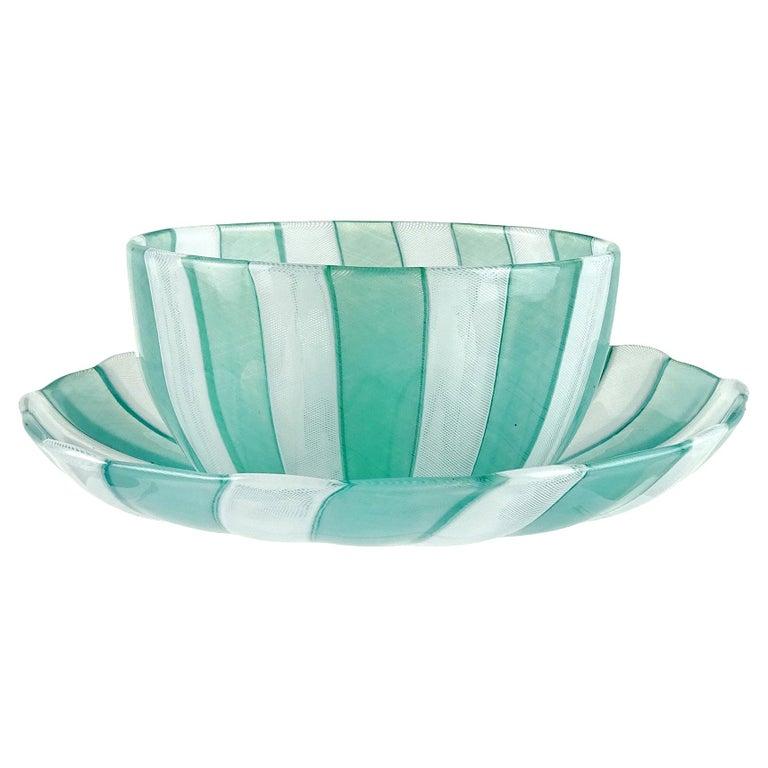 Venini Murano Jade Green White Micro Ribbons Italian Art Glass Bowl Dish Set For Sale
