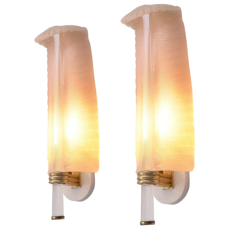 Venini Murano Pair of Floral Wall Lamps For Sale