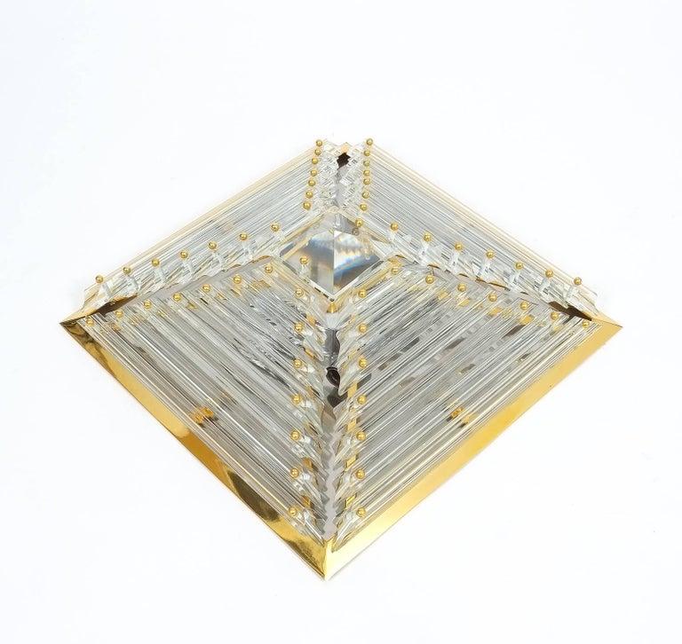 Gilt Crystal and Brass Murano Lamps Flush Mounts, circa 1970 For Sale
