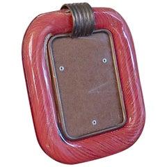 Venini Murano Red Color Art Glass Midcentury Picture Frame, 1950