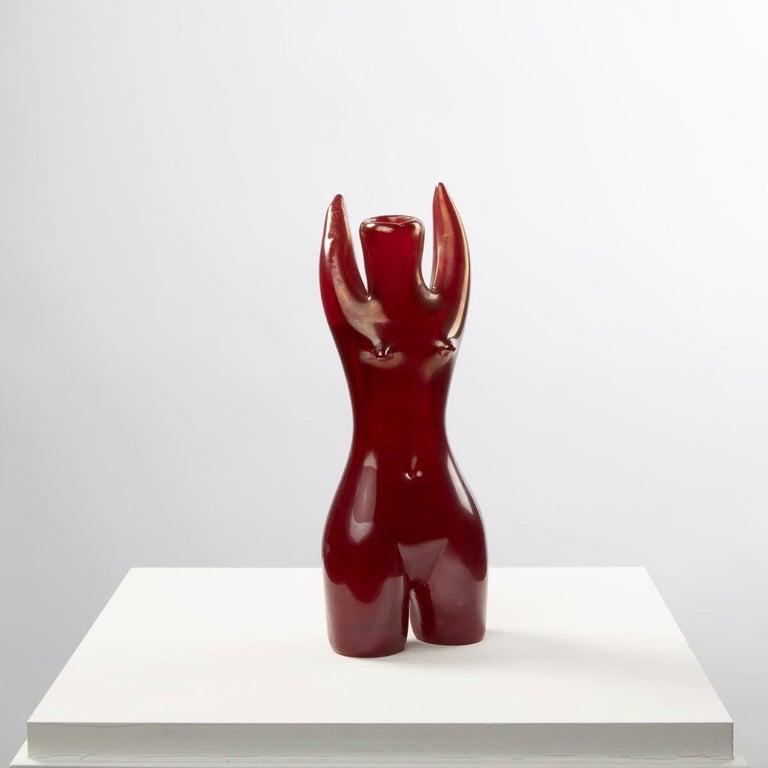 Venini Murano Sirena, Mermaid Red Glass Sculpture Vase by Fulvio Bianconi For Sale 1