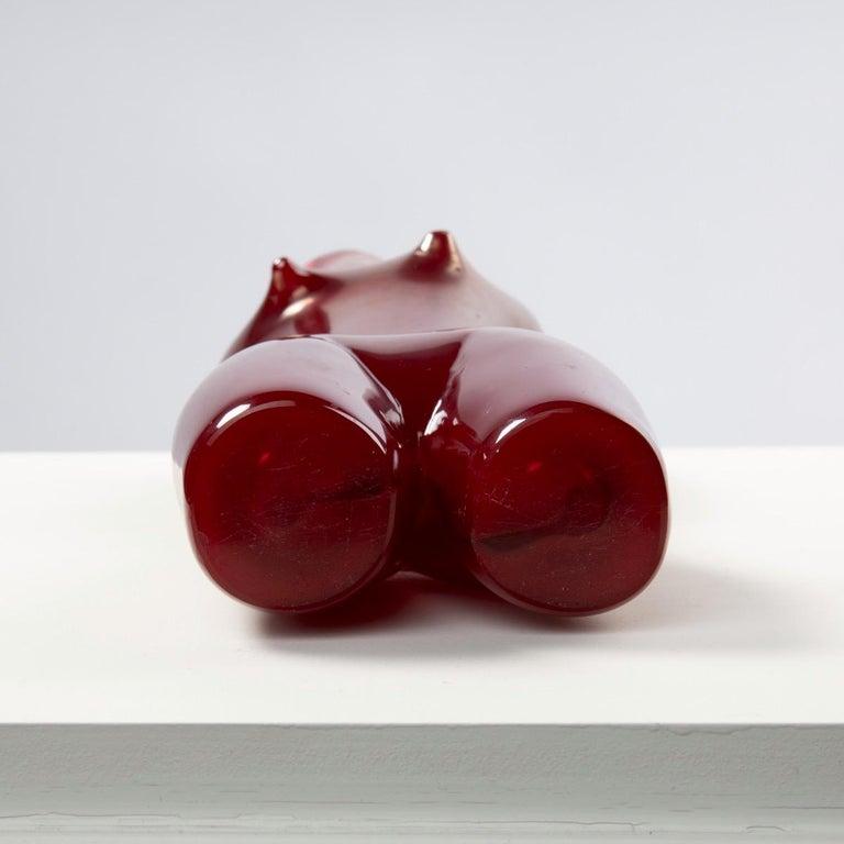 Venini Murano Sirena, Mermaid Red Glass Sculpture Vase by Fulvio Bianconi For Sale 3
