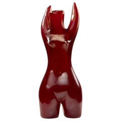 Venini Murano Sirena, Mermaid Red Glass Sculpture Vase by Fulvio Bianconi