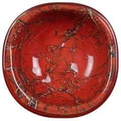 Venini Murano Toni Zuccheri Signed Italian Art Glass Coral Orange Copper Bowl