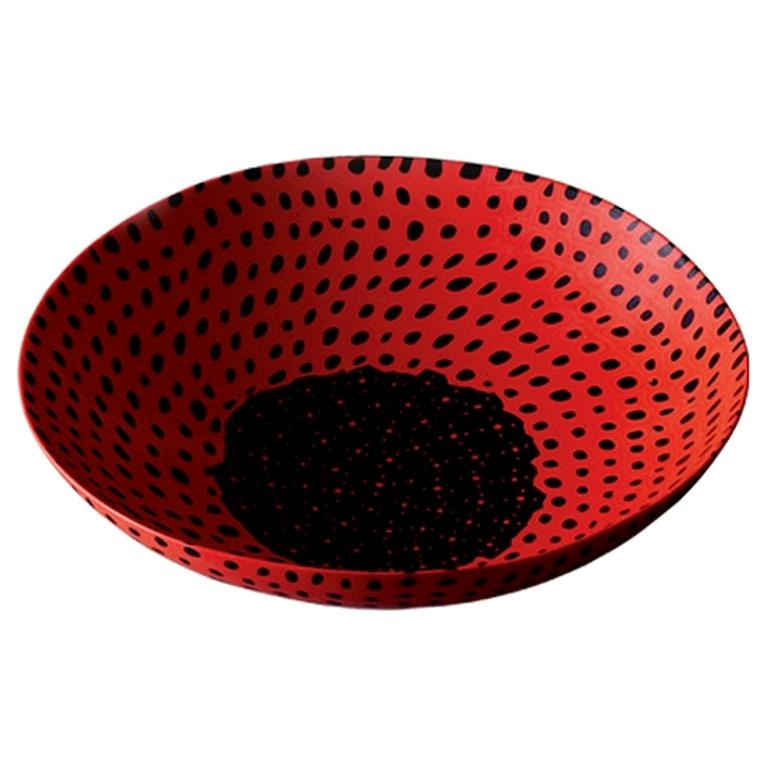Venini Murrine Opache Plate in Red with Black Details by Carlo Scarpa For Sale