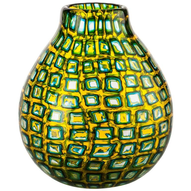 Venini Murrine Romane Multi-Color Vase by Carlo Scarpa For Sale