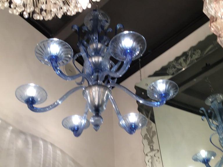 """Venini """"Napoleone Martinuzzi"""" Chandelier Blu Murano Glass Iron, 1926, Italy 4"""
