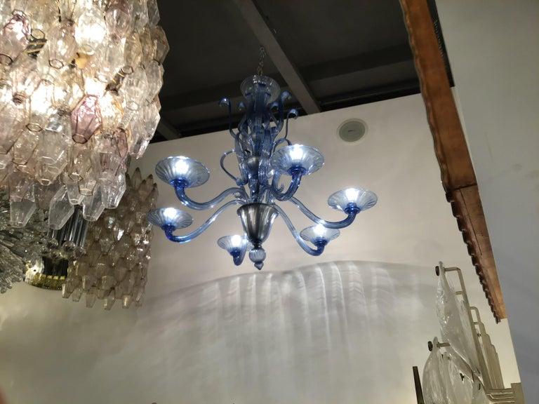 """Venini """"Napoleone Martinuzzi"""" chandelier blu Murano glass iron, 1926, Italy."""