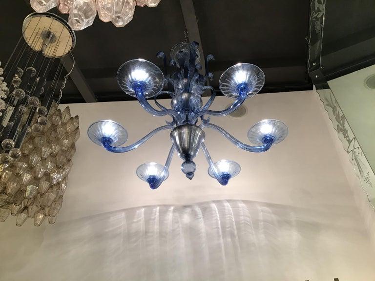 """Art Deco Venini """"Napoleone Martinuzzi"""" Chandelier Blu Murano Glass Iron, 1926, Italy"""
