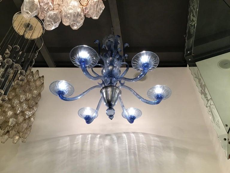 """Venini """"Napoleone Martinuzzi"""" Chandelier Blu Murano Glass Iron, 1926, Italy In Excellent Condition In Milano, IT"""
