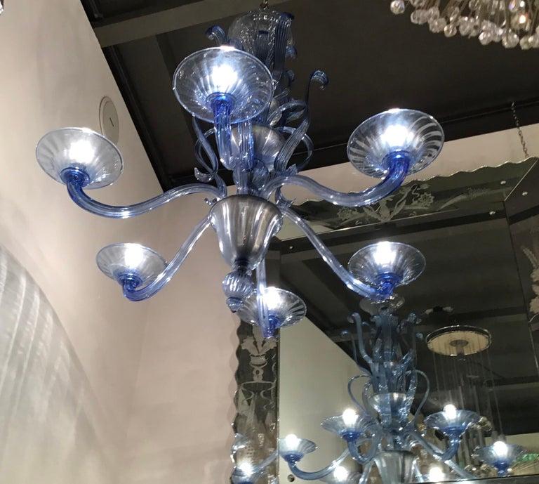 """Venini """"Napoleone Martinuzzi"""" Chandelier Blu Murano Glass Iron, 1926, Italy 1"""