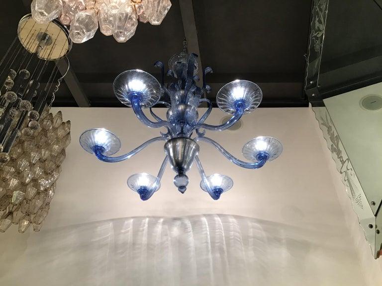"""Venini """"Napoleone Martinuzzi"""" Chandelier Blu Murano Glass Iron, 1926, Italy 2"""