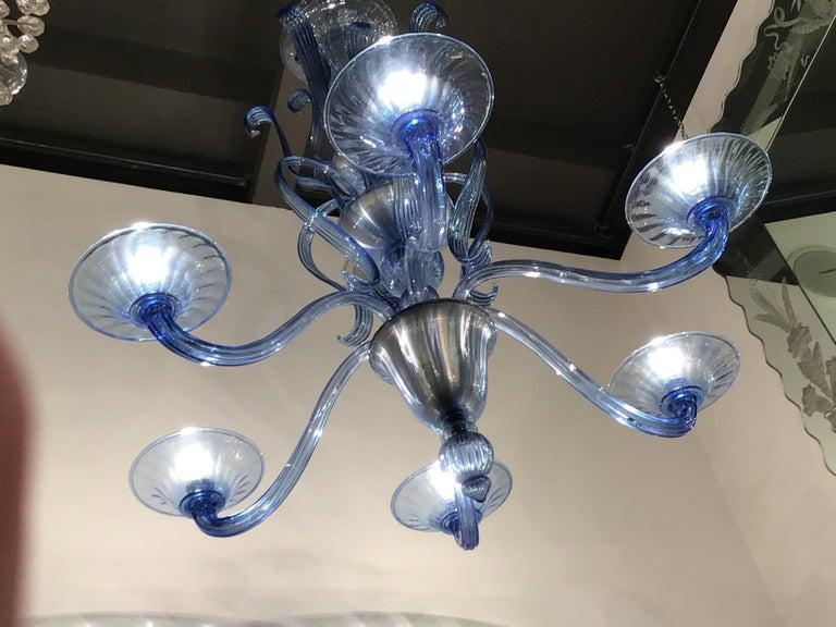 """Venini """"Napoleone Martinuzzi"""" Chandelier Blu Murano Glass Iron, 1926, Italy 3"""