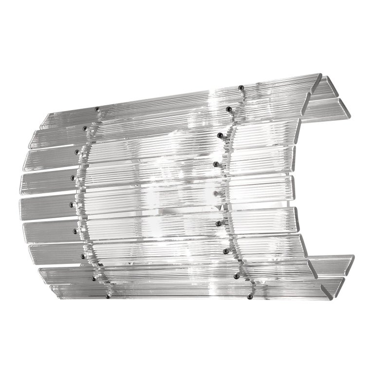 Venini Nastri Wall Sconce in Clear with Ribbed Details For Sale
