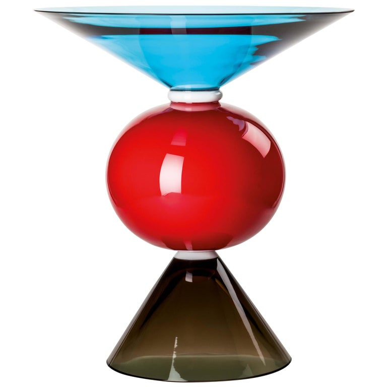 Venini Oman Vase in Gray, Red & Aquamarine by Ettore Sottsass For Sale
