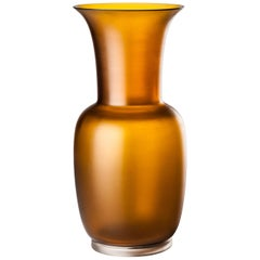 Venini Opalino Medium Satin Glass Vase in Tea