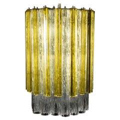 Venini Original Tronchi and Gold Triedi Chandelier or Lantern,  Murano 1960