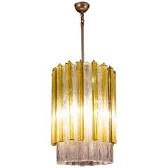 Venini Original Tronchi and Gold Triedi Chandelier or Lantern, Murano, 1960