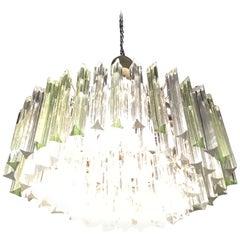 Venini Oval Chandelier Triedri, Brass Murano Glass, 1960, Italy