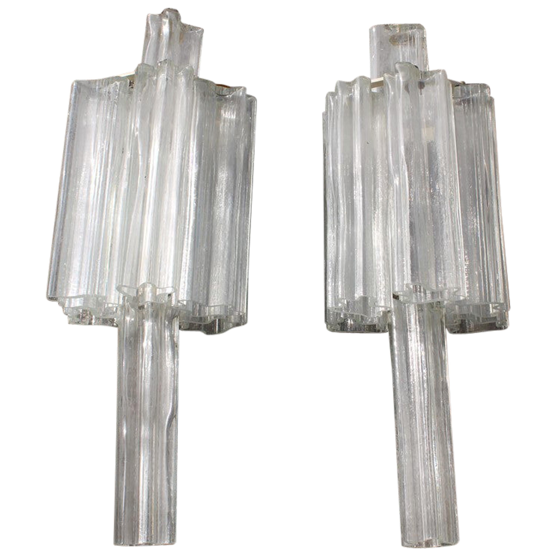 Venini Pair of Murano Transparent Glass Wall Sconces Italian Design, 1960s