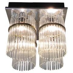 Venini Pair of Murano Glass and Brass Chandelier, 1960