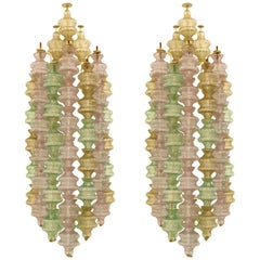 Venini Pair of Murano Glass and White Lacquered Metal Sconces, Italy, 1960s