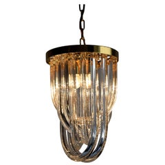 Venini Pendant Chandelier, Curved Crystal Glass & Gold Plated Brass.