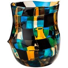 Venini Pezzati Tall Glass Vase in Aquamarine, Yellow & Black by Fulvio Bianconi