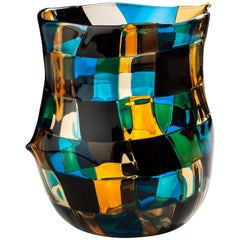Venini Pezzati Vase in Aquamarine, Yellow and Black by Fulvio Bianconi