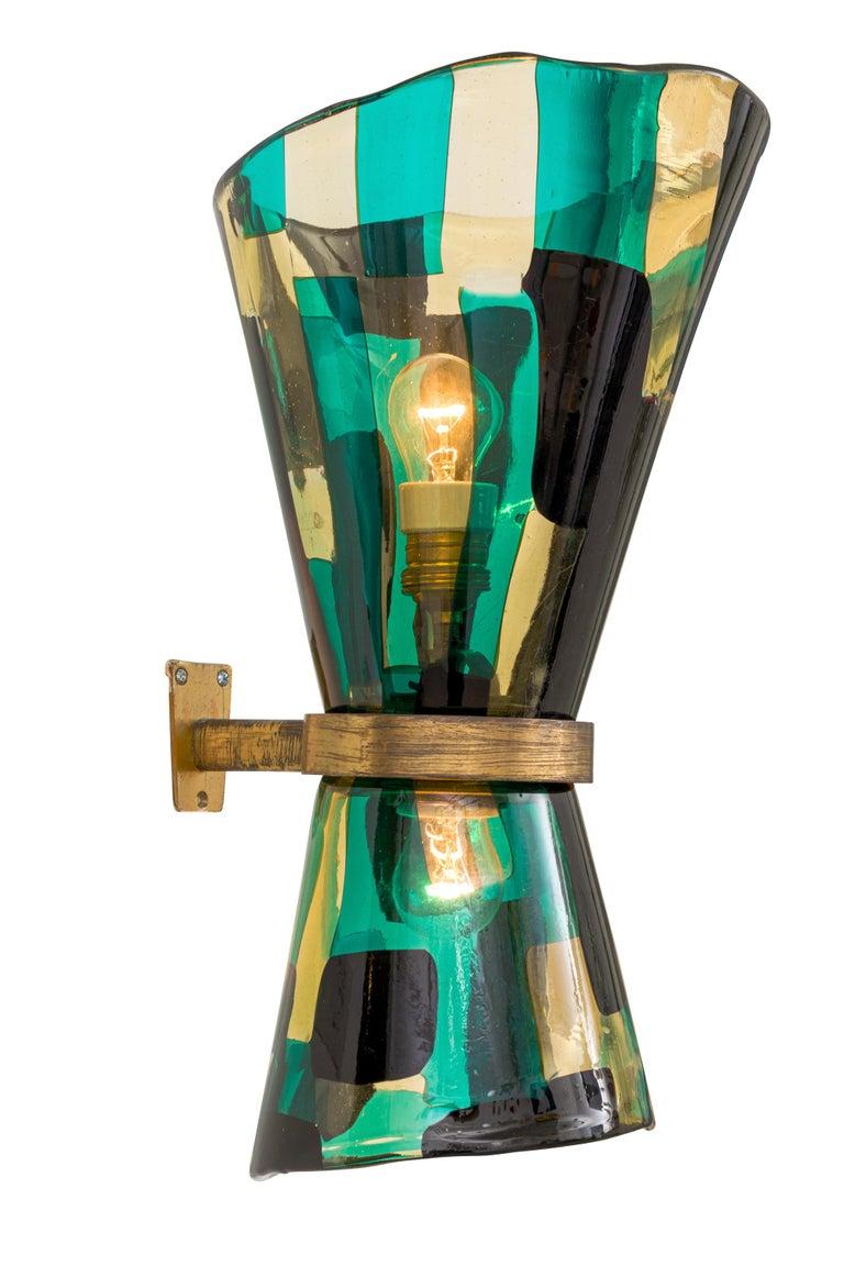 Italian Venini Pezzato Murano  and Brass Wall Light, Italy 1960s For Sale