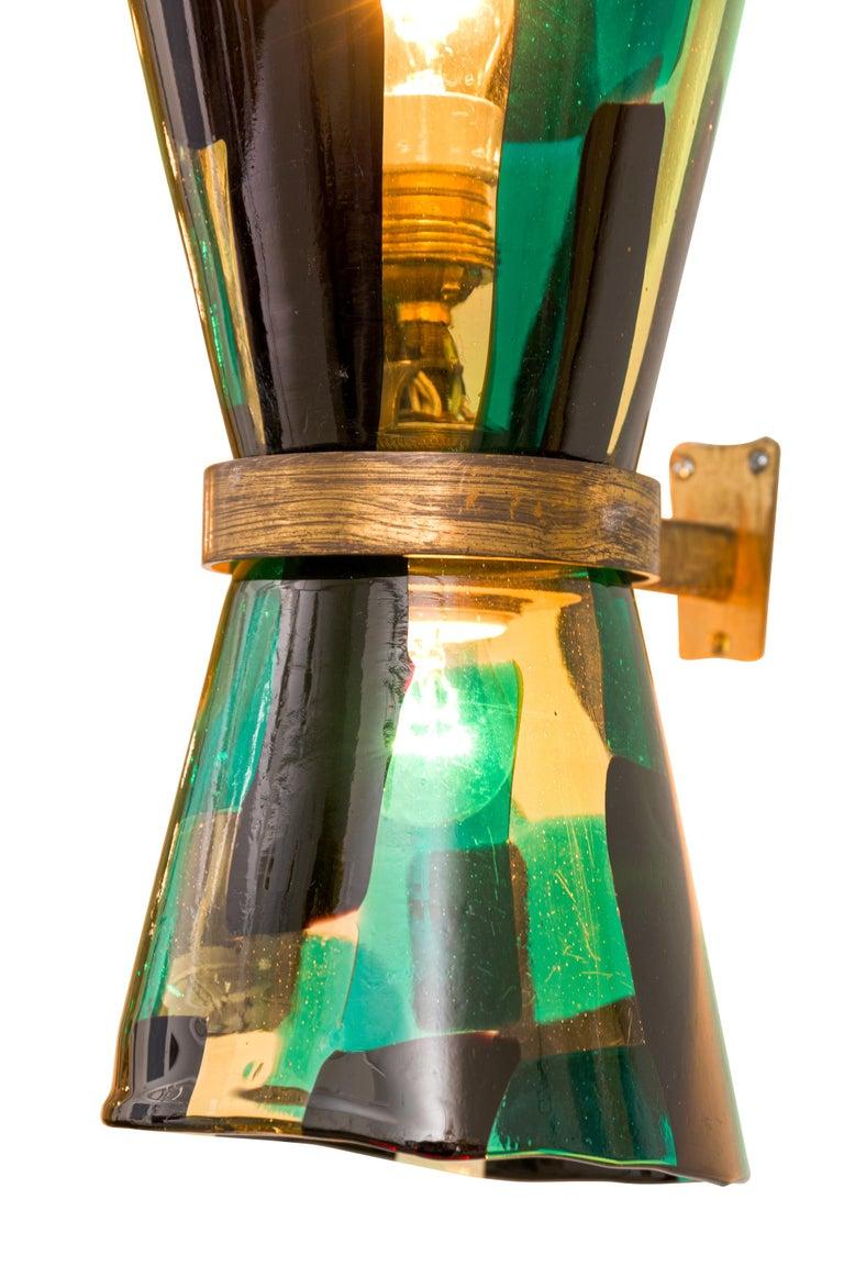 Mid-20th Century Venini Pezzato Murano  and Brass Wall Light, Italy 1960s For Sale