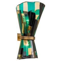 Venini Pezzato Glass and Brass Wall Light, Murano, Italy, 1960s