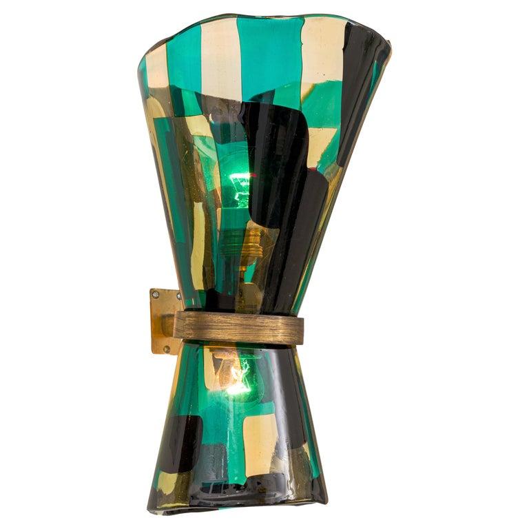 Venini Pezzato Murano  and Brass Wall Light, Italy 1960s For Sale