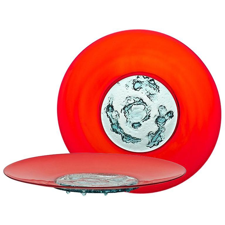 Venini Piatto Di Tapio Plate in Red & Aquamarine by Tapio Wirkkala